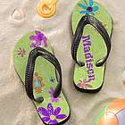 Personalized Girl's Flowers Flip Flop Sandals