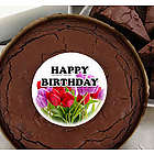 Birthday Tulips Brownie Cake