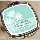 Personalized Teal Dandelion Mirror Compact