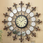 Mirrored Fleur-De-Lis Wall Clock