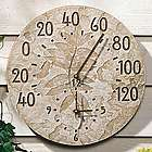 Fossil Sumac Leaves Thermometer Clock