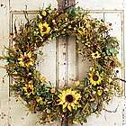 Fall Silk Sunflowers Front Door Wreath