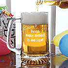 Personalized Cheers to You Glass Birthday Beer Mug