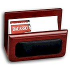 Walnut Wood and Leather Business Card Holder