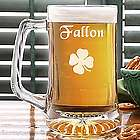 Personalized Four Leaf Clover Irish Beer Mug