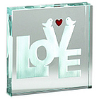 Love Birds Glass Paperweight