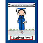 Personalized Graduate Cartoon Print with Cap and Gown