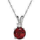 5mm Round Garnet and Diamond Stud Pendant in 14K White Gold