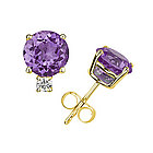 Amethyst and Diamond Stud Earrings in 14K Yellow Gold