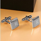 Engravable Rhodium Plated Square Keys Cufflinks
