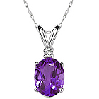 Oval Amethyst and Diamond Stud Pendant in 14K White Gold