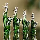 Emerald Llama Blown Glass and Silver Leaf Figurines