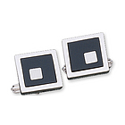 Square Classic Fashion Onyx Sterling Silver Cufflinks