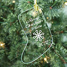 Merry Christmas Personalized Glass Stocking Ornament