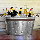 Fleur De Lis Tin Beverage Tub with Bronze Banding