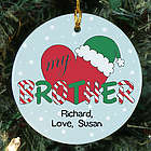 Personalized Ceramic Heart My Brother Ornament