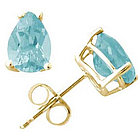 All-Natural Pear Shape Aquamarine Earrings Set in 14K Yellow Gold