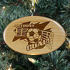 Personalized Soccer Player Wooden Oval Ornament