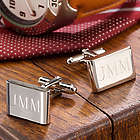 Personalized Luxe Rectangular Rhodium Cufflinks