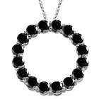Black Diamond Circle Pendant in 14K White Gold