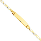 14k Yellow Gold Children's ID Bracelet with Figaro Chain