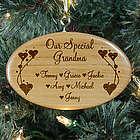 Personalized Grandma Wooden Oval Ornament