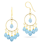 Sky Blue Dangle Topaz Earrings in 18K Yellow Gold
