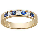 Diamond & Sapphire Stackable Band in 14K Yellow Gold