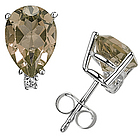Pear Smokey Quartz and Diamond Stud Earrings in 14K White Gold