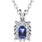 Tanzantine and Diamond Pendant in 14K White Gold