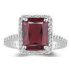 Diamond & Garnet Ring in 14K White Gold