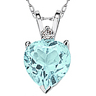 8mm Heart Aquamarine and Diamond Stud Pendant in 14K White Gold