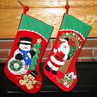 Velvet Snowman or Santa Personalized Christmas Stocking