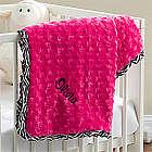 Pink Zebra Personalized Baby Blanket