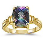 Checkercut Cushion Mystic Topaz Ring