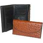 Ostrich Leather Checkbook Wallet