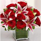 Large Modern Embrace Red Rose and Lily Cube Bouquet