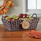 Wicker Basket with Personalized Wood Pumpkin Tag