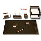 Walnut and Leather 10 Piece Desk Set