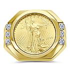 Gold Eagle Coin Mens Diamond Ring