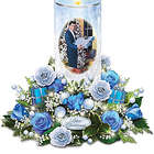 Elvis Presley Candle with Blue Rose Bouquet Plays Blue Christmas