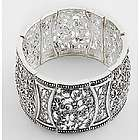 Victorian Style Antique Silvertone Filigree Stretch Bracelet