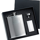 Checkered Pattern Flask & Chrome Money Clip Gift Set