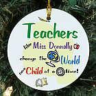 Teachers Change the World Personalized Ceramic Ornament