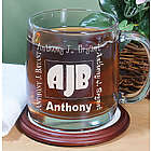 Engraved Initials Glass Coffee Mug
