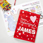 Personalized Valentine's Day Coloring Book and Crayon Set