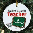 World's Greatest Teacher Personalized Ceramic Ornament
