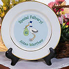 Special Delivery Baby Boy Announcement Ceramic Plate