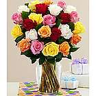 Two Dozen Long Stemmed Vibrant Birthday Roses