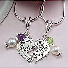 Mother Daughter Heart Birthstone Necklace